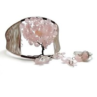 Sakura Cherry Blossom Tree of Life Cuff Slave Bracelet Ring Attached