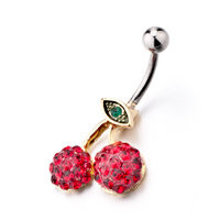Cherry Shaped With January Red Birthstone Belly Navel Rings, Belly Rings, New Year Belly Rings | Pugster.com