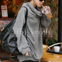 Luxurious  Loose Turndown Collar Solid Color Plus Size Hoodie: tidestore.com