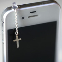 Elegant SILVER CROSS Iphone Earphone by fingerfooddelight on Etsy