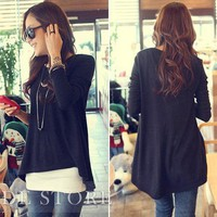 Lovely Loose Round Neckline Trim Blouse: tidestore.com