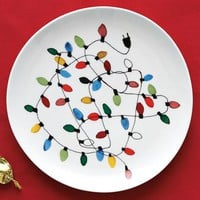 Christmas Lights Dessert Plate Set | west elm