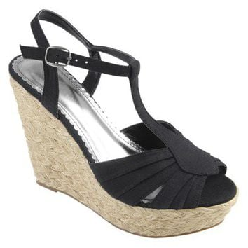 Hailey Jeans Co Womens Peep Toe T-strap Wedge