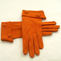 Vintage 1960s Gloves Mod Burnt Orange Cotton Size 6 by Revvie1