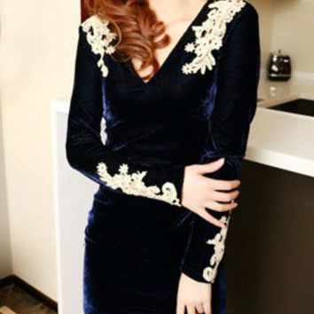 Feminine Lace Trims Navy Velvet Tunic Dress Mini Dress. Lacy Top