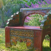 Handcarved and decoratively painted chair from by OldEmpireImports