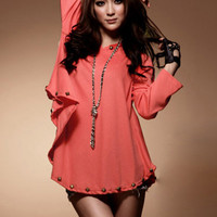 Casual Style Rivets Decorated Ladies Blouses Orange : Wholesaleclothing4u.com