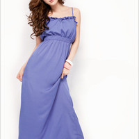 Concise Design Pure Blue Ladies Maxi Dresses : Wholesaleclothing4u.com