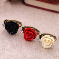 Resin Rose Flower With Leaf Bronze Ring - Black, Red Or White