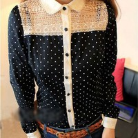 Black Polka Dot Blouse With White Lace Cutouts