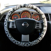 Black and White Steering Wheel Cover by mammajane on Etsy