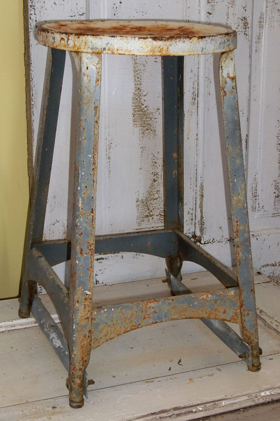 Industrial Farmhouse Stool Distressed From Anitasperodesign On