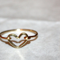 vela - 14k gold heart stacking ring by lilla stjarna - ft. 14 karat gold - Valentine&#x27;s Day - gifts under 50