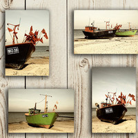 Beach Photography Nautical Sea Beach Boat Sail Fish cutters sephia SET OF FOUR 4x6 Fine Art Photography Prints
