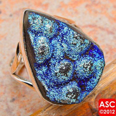 TITANIUM DRUZY 925 STERLING SILVER RING SIZE 8 JEWELRY