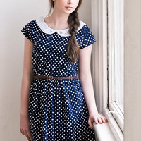 Polka dot peter pan collar dress Back to school