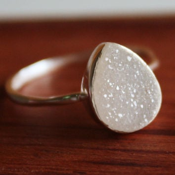 White Druzy Teardrop Ring  Sterling Silver  Ice Cool by OhKuol