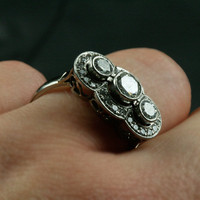 Three Stone Vintage Diamond Engagement Ring