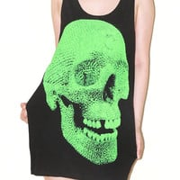 NEW Crystal Diamond Skull Lost Tooth Halloween Black Green Print Tank Top Sleeveless Women Shirt Art Punk Rock T-Shirt Size L