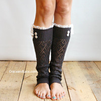 The Lacey Lou Graphite Open-work Leg Warmers w/ ivory knit lace trim & buttons - Legwarmers boot socks (item no. 3-23)