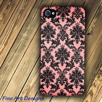 iPhone 4 or 4s case with Faded Pink and Black Damask image
