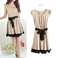 Japan Korea Women's Lotus Leaf Round Neck Chiffon Midi Full Skirt Short Dress O