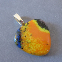 Colorful Pendant, Orange Glass Pendant, Costume Jewelry, OOAK Pendant - Arcadia - 2449 -3