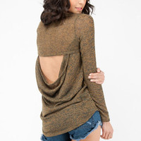 Cutout Back Sweater in Olive :: tobi