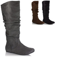 Womens Slouchy Flat Boot...