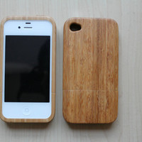 Bamboo iPhone Case with buttons iPhone 4 Wood Case by Heana