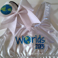 Cheerleading Worlds Metallic Sports Bra and by SparkleBowsCheer