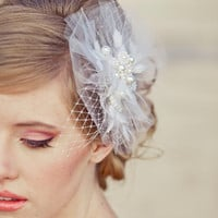 Net and pearl wedding hair comb