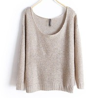 Beige Loose Fit Wide Neckline Knit Jumper with Sequin Embellish