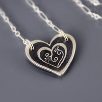 Etched Silver Blooming Heart Necklace - Valentine Jewelry