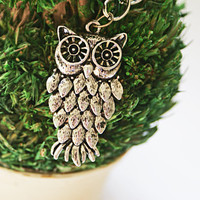 Owl Charm Necklace Silver Jewelry