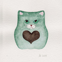 Valentine Mint Cat with Chocolate Heart Original Watercolor Painting 5x7 Mint Green Sage