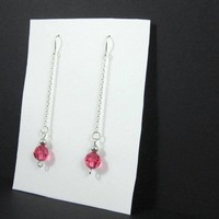Dangling dressy sterling silver chain earrings pink Swarovski crystals