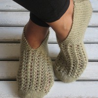 Wool Khaki Handknitted Slippers