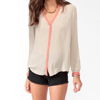 Contrast Trim Blouse