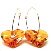 Gold Hoop Earrings Orange Swarovski Crystal by GirlBurkeStudios