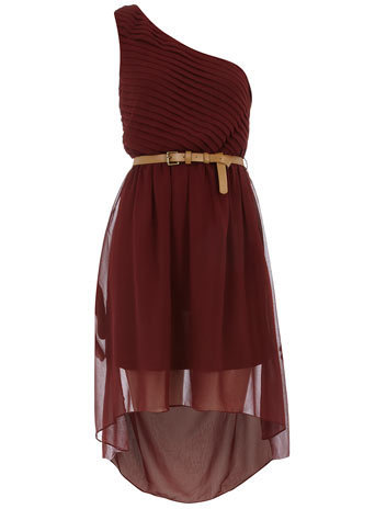 Burgundy pleat and dip dress - View All  - Dresses  - Dorothy Perkins