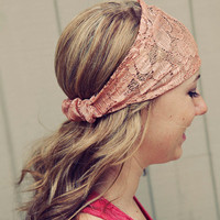 Peachy Tan Lace Headband by BglorifiedBoutique on Etsy