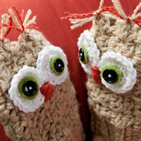Fingerless Owl gloves with adorable owl face by BglorifiedBoutique