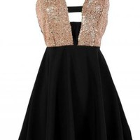 Black Dress with Sequin Embellished Top &amp; Criss Cross Back