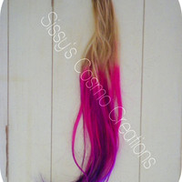Majestic Magenta Plum  Micro Link I tip Human Hair Extensions Set of 25 Strands of Ombre Dip Dye