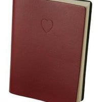 Red Embossed Heart Leather Journal - Lined