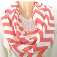 Coral  white chevron zig zag infinity scarf by PrettyThingsbyOC