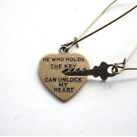 key to my heart earrings - he who holds the key can unlock my heart jewelry Valentine's Day