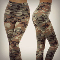 Camo High Waist Leggings Military Camouflage Print Army Fashion Pants