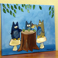 Owls Having Tea Owl Tea Party Original Painting by andralynn